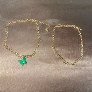 Green butterfly anklet set
